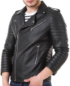 Leather Retail Black Faux Leather Slim Fit Men's Jacket for Roadies