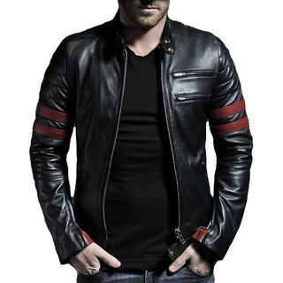 Leather Retail Black Casual Plain Long Sleeve Biker Jacket For Men