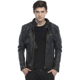 Leather Retail Black Plain PU Casual Jacket For Men