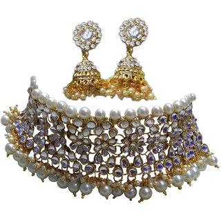 9110ff7bdf668 Indian Bollywood Style White Pearl Bridal Wedding Choker Kundan Necklace Set
