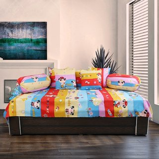 craftwell latest design 8 piece 3d printed diwan set (1 single bedsheet, 2 booster cover  5 cushion cover)