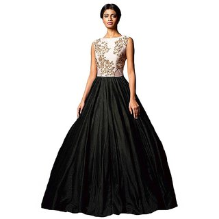 Florence Womens Black Silk Embroidered Gown