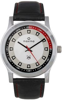Maxima Round Red & Black Dial Leather Analog Automatic Casual Watch For Men