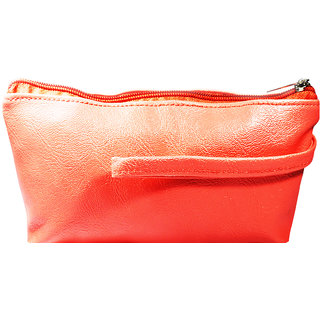 Adbeni Imported Travel Cosmetic Case Makeup Pouch Orange P.U Leather