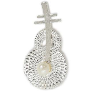 AJ Dezines silver guitar brooch for men and women (B_118_WHITE)