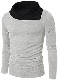 PAUSE Grey Solid Cotton Cowl Neck Regular Full Sleeve Men's T-Shirt