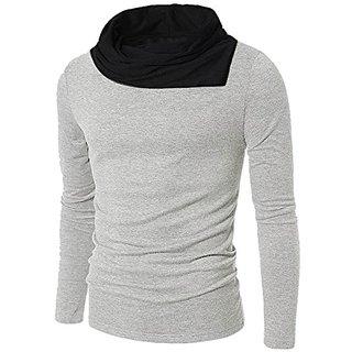 PAUSE Grey Solid Cotton Cowl Neck Regular Full Sleeve Men's T-Shirt