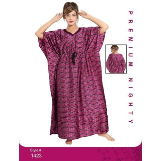 ea25f3d499 Buy Kaftan Night Wear for Women Printed Nightie Long Sleep Dress Daily  Bedroom 1423 Pink Maxi Gown Online - Get 7% Off