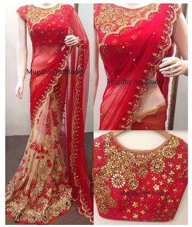 Mayur silk mills red embroidered halfhalf georgette saree with unstitchd blouse piece