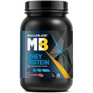 MuscleBlaze Whey Protein 2.2 lb (1 kg) Strawberry