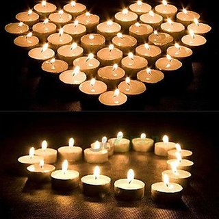 Satya Vipal White T-lite Candles Pack of 50 for Diwali