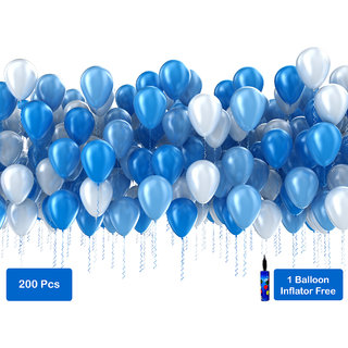 Factory 21 Set Of 100 Piece Blue And Pieces White Balloons For Birthday Decorations Order Today Get 1 B