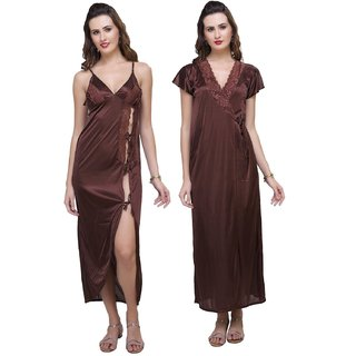 Women's Night Set 3pc Nighty  Panty  Overcoat Hot Bed Sleep Wear 3232 Brown Gown  Robe