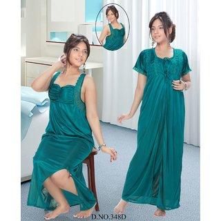 Hot Womens Sleepwear 2pc Nighty   Over Coat Bed Dress Night  RobeSet 348D Teal Blue Fun