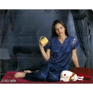 Womens Sleepwear 2pc Top  Pajama Pant 5232 Lounge Set Daily Blue Bedroom Wear