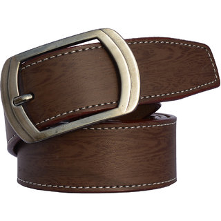 Sunshopping Casual Brown Leatherite Pin-Hole Buckle Belt For Men (Synthetic leather/Rexine)