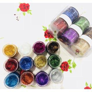 Imported 3D Gel Glitter pigment Pack of 12 Pcs Multi Color Glitter