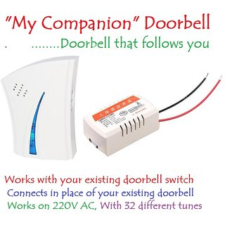 My Companion Wireless Cordless Door Bell Multi Tunes Works on 220V AC for Home..