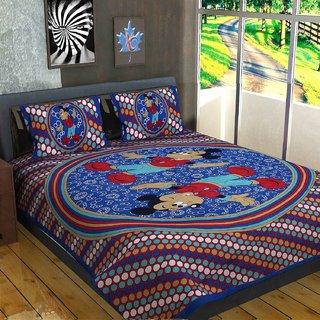 Pinkcity Enterprises Jaipuri Cotton Rajasthani Double Bedsheet With 2 Pillow Cover