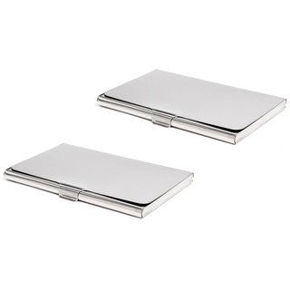 The Boss Steel ATM / Visiting / Credit Card Holder For Men-Women (Pack of 2) (Synthetic leather/Rexine)