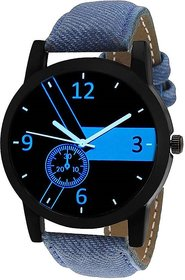 Timebre Round Dial Blue Leather Strap Men Quartz Watch