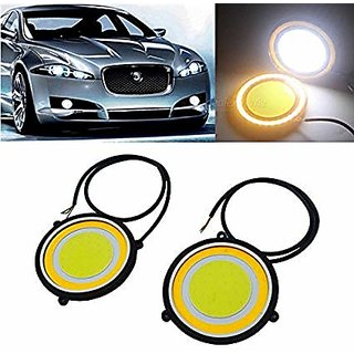 Car LED DRL Round Cob Lights(Double Color) / Fog Lights / Day time Running Lights Universal