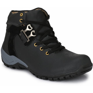 Shoe Rider Black Outdoors Lace-up Casual Shoes For Men