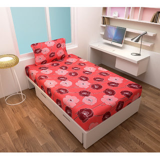 Aaris Cotton Single Bedsheet With 1 Pillow Covers (LXW 90X60 Inches)