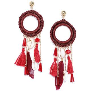 Jewels Galaxy Luxuria Elegant Circular Feather Design CZ Fascinating Red Chain Drop Earrings For Women/Girls