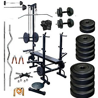 SPORTO Fitness 100Kg Combo-Wb Home Gym  Fitness Kit with 20 in 1 Bench