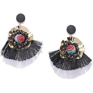 Jewels Galaxy Sparkling Floral Design Onyx Luxuria Gold Plated Fascinating Black Drop Earrings For Women/Girls