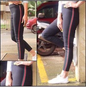 Green Ride or Side Stripes Stretchable Trendy  Legging / Jegging / Gym Wear / Yoga Wear /Sport's Wear