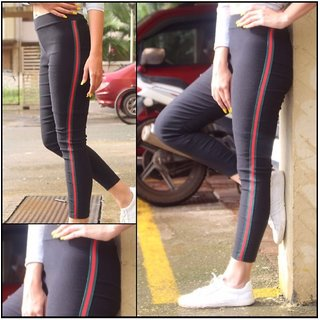 Green Ride or Side Stripes Stretchable Trendy  Legging / Jegging / Gym Wear / Yoga Wear /Sport's Wear