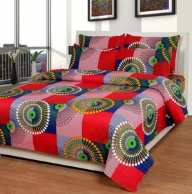 Craftwell Multicolor Polycotton 3D Printed Double Bedsheet With 2 Pillow Cover (250*224)