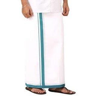 AKS White Color Plain Cotton Dhothi 4mts