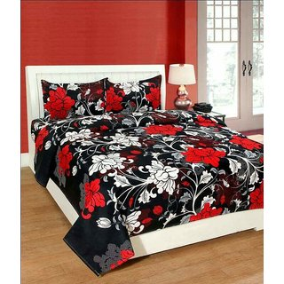 Craftwell Black 3D Polycotton Double Bedsheet With 2 Pillow Cover