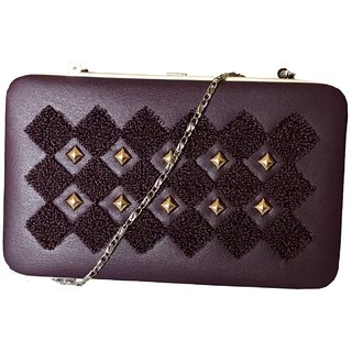 Women's Tablet Style Purple Clutch with long chain by Nifty Fashion and Accessories