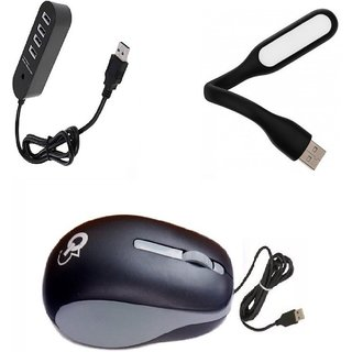Q3 High Speed Q8N Wired Mouse With Mini Flexible USB LED Light  1TB Support 4 Port USB HUB Combo Set ( Black Grey )