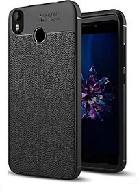 Back Cover for Infinix Hot S3 AUTO-FOCUS CASE 5.65-Inch -  Metallic Black, Shock Proof, Artificial Leather