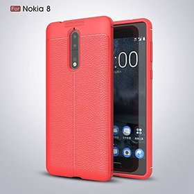 Soft Silicone TPU Flexible Auto Focus Back Case Cover For Nokia 8 (Red)