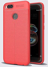Redmi A1 Red Leather Pattern Auto Focus Back Cover