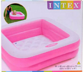 OH BABY Combo 5 Feet Sunset Glow Inflatable Pool  3 Feet Water Bath Tub- (MultIcolor) SE-AT-13