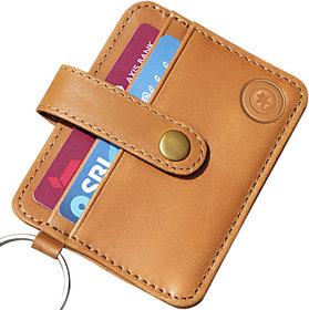 Slim Front Pocket Minimalist Genuine Leather Wallet Card Holder with Key Ring (CH2000TN)