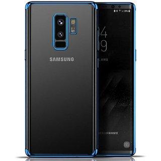 Transparent Glitter Serise Shinning Plating Design Case Cover For Samsung Galaxy J8 - Blue