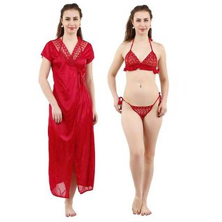 df0dfc9511 Buy Lovie s Women s Nighy With Robe and Lingerie Set(Red) Online - Get 40%  Off