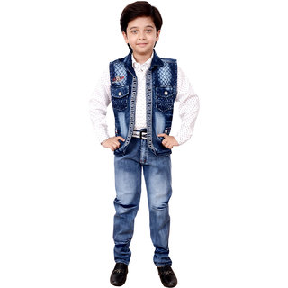 Arshia Fashions Boys Shirt Waistcoat and Denim Set Party wear