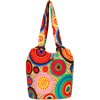 Anekaant Orb Pink and multicoloured Canvas Shoulder bag