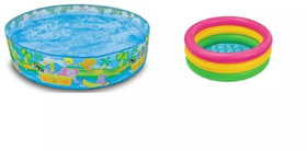 OH BABY Combo 5 Feet Sunset Glow Inflatable Pool  3 Feet Water Bath Tub- (MultIcolor) SE-AT-30