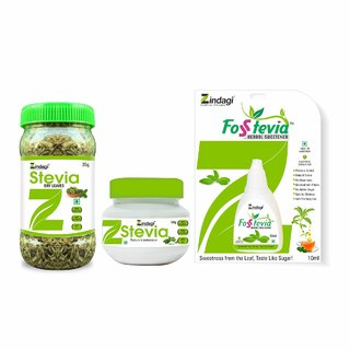 Zindagi Stevia Dry Leaves, Stevia Powder And Stevia Liquid - Sugarfree Sweetener For Weight Lose (Combo Pack)