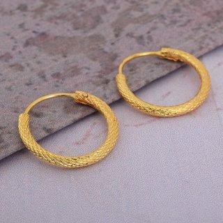fa0094d896269 Memoir Gold plated brass, simple sober light weight daily use Hoop bali  earrings Women Fashion